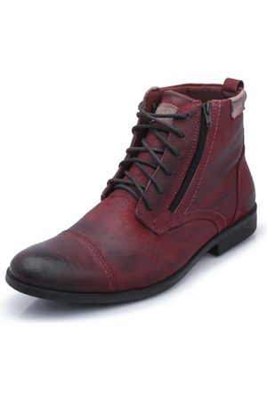 Bergally Bota Casual Com Ziper Bordo