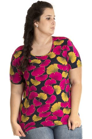 Konciny Blusa Viscolycra Plus Size Colorida