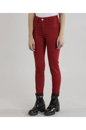 Clockhouse Mulher Calça Skinny - Calça Skinny Energy Jeans em Algodão + Sustentável Vermelha