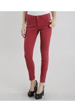 YESSICA Calça de Sarja Feminina Skinny Vermelha