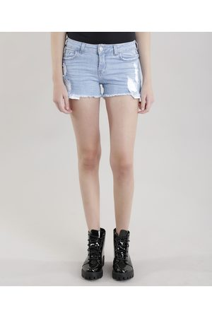 Clockhouse Mulher Calça Jeans Reta - Short Jeans Reto Destroyed Claro