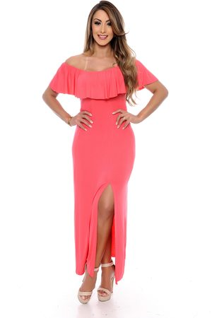 B Bonnie Vestido Longo Ciganinha Monique Coral