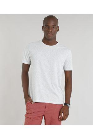 Basics Camiseta Masculina Básica Manga Curta Gola Careca Mescla Claro