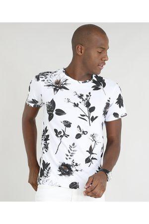 AL Contemporâneo Camiseta Masculina Slim Fit Estampada de Folhas Manga Curta Gola Careca Branca