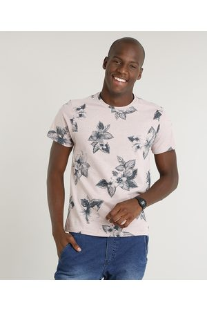 AL Contemporâneo Homem Manga Curta - Camiseta Masculina Slim Fit Estampada Floral Manga Curta Gola Careca Rosê