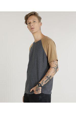 Basics Camiseta Masculina Raglan Básica Manga Curta Decote Careca Mescla Escuro