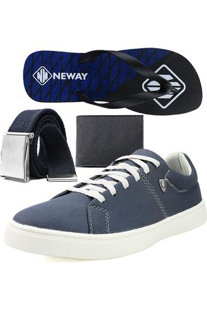 Neway Kit Sapatenis Casual SW Masculino + 1 Cinto + 1 Chinelo + 1 Carteira