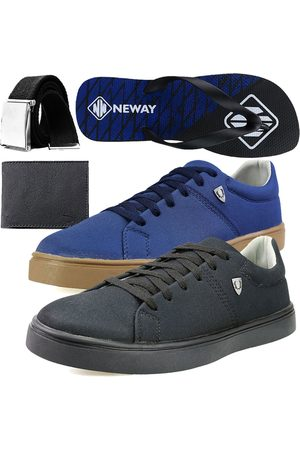Neway Kit Sapatenis Casual SW Azul 1 Cinto 1 Chinelo 1 Carteira