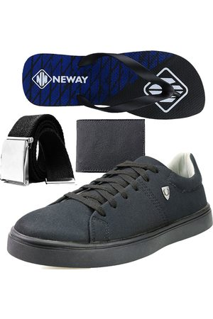 Neway Kit Sapatenis Casual SW Preto 1 Cinto 1 Chinelo 1 Carteira
