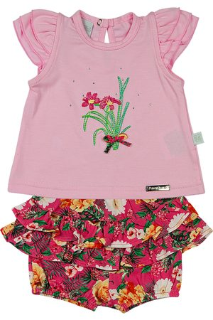 Ano Zero Conjunto Bebê Cotton e Malha Estampa Digital Tropical Flores M