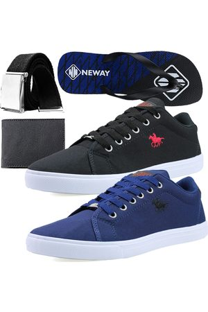 Neway Kit Sapatenis Casual Preto 1 Chinelo 1 Cinto 1 Carteira