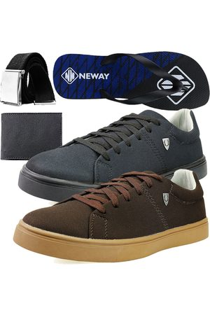 Neway Kit Sapatenis Casual SW Masculino + + 1 Cinto + 1 Chinelo + 1 Carteira