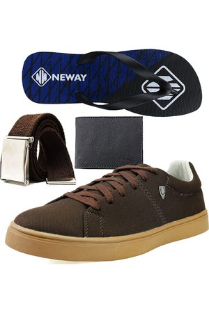 Neway Kit Sapatenis Casual SW Café 1 Cinto 1 Chinelo 1 Carteira