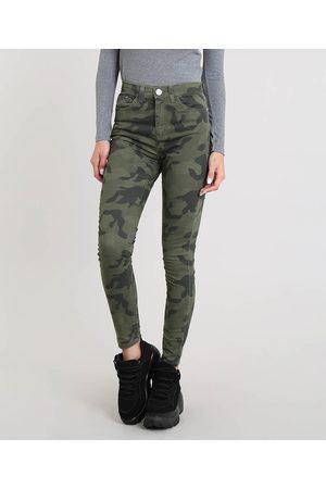 Clockhouse Calça Feminina Skinny Estampada Camuflada Verde Militar