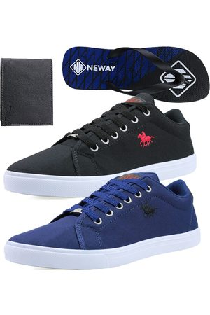 bb79571fb6f Neway Kit Sapatenis Casual Polo Energy Preto 1 Chinelo 1 Carteira .