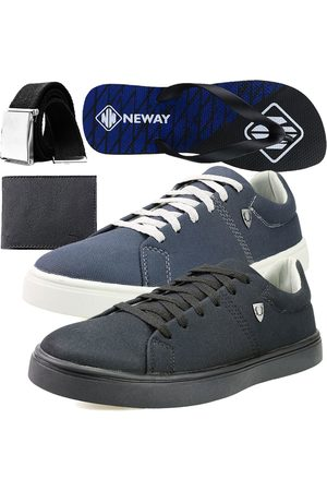 Neway Kit Sapatenis Casual SW Cinza 1 Cinto 1 Chinelo 1 Carteira