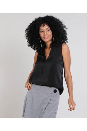 YESSICA Mulher Camiseta - Regata Feminina Básica Gola Esporte Preta