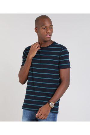Basics Camiseta Masculina Básica Listrada Manga Curta Gola Careca Azul Marinho