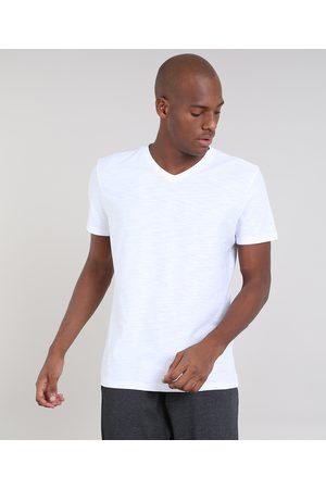 Basics Camiseta Masculina Básica Flamê Manga Curta Gola V Branca