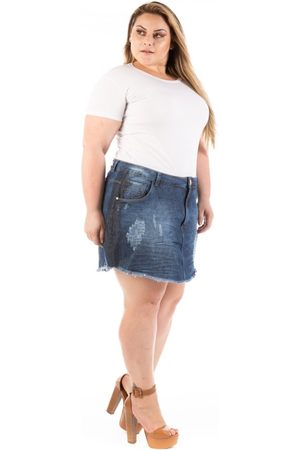Plus Size - Confidencial Extra Saia Jeans Curta Destroyed Olaf Plus Size - Tricae