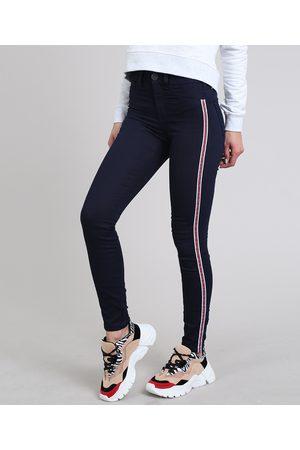 Clockhouse Calça Jeans Feminina Super Skinny Energy Jeans com Faixas Laterais Escuro