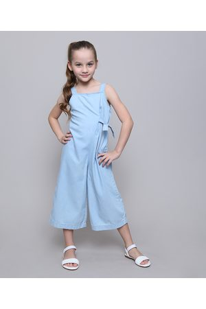 Palomino Macacão Jeans Infantil com Amarração Alças Médias Claro