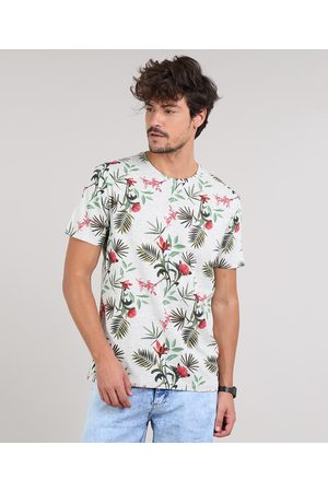 Clockhouse Camiseta Masculina Estampada de Folhagem Manga Curta Gola Careca Cinza Mescla Claro
