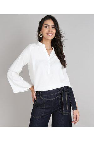 YESSICA Camisa Formal - Camisa Feminina Ampla Manga Sino Off White