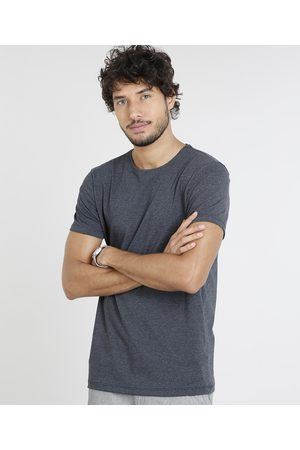 Basics Camiseta Masculina Básica com Elastano Manga Curta Gola Careca Mescla Escuro