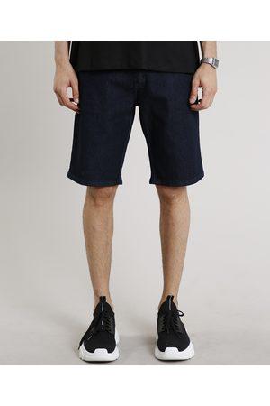 Clockhouse Homem Bermuda - Bermuda Jeans Masculina Slim com Bolsos Escuro