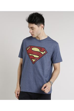 DC Camiseta Masculina Super Homem Manga Curta Gola Careca Azul Marinho