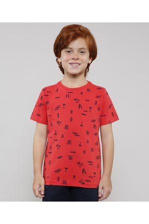 PALOMINO Menino Manga Curta - Camiseta Infantil Estampada Tropical Manga Curta Vermelho