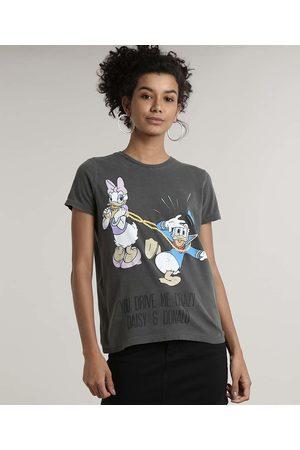 Disney Mulher Manga Curta - Blusa Feminina Pato Donald e Margarida Manga Curta Decote Redondo Chumbo