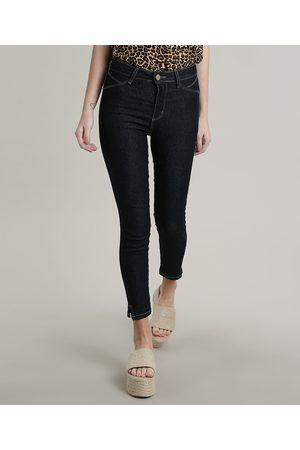 SAWARY Mulher Calça Skinny - Calça Jeans Feminina Skinny Pull up com Fenda Escuro