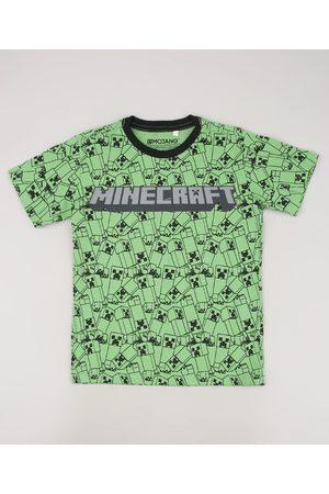 Minecraft Camiseta Infantil Estampada Manga Curta Verde