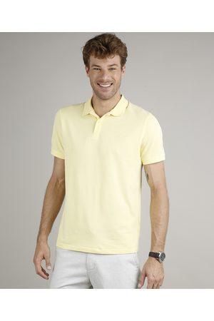 ANGELO LITRICO Homem Camisa Pólo - Polo Masculina em Piquet Básica Comfort Fit Manga Curta Amarela