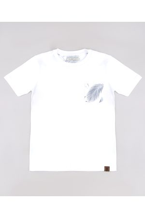 PALOMINO Menino Camisolas de Manga Curta - Camiseta Infantil com Bolso Estampado de Folhagem Manga Curta Off White