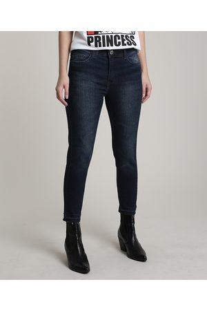 Clockhouse Calça Jeans Feminina Skinny com Barra Desfeita Escuro