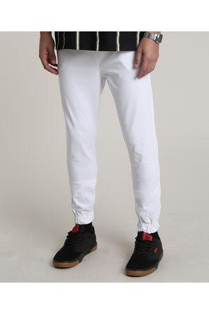 Clockhouse Homem Calça de Alfataria - Calça de Sarja Masculina Jogger Skinny com Bolsos e Cordão Off White