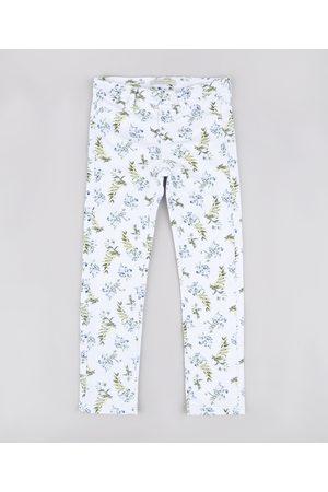 PALOMINO Calça de Sarja Infantil Estampada Floral Off White