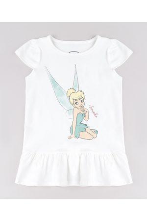 Disney Vestido Infantil Sininho Peter Pan com Babado Manga Curta Off White