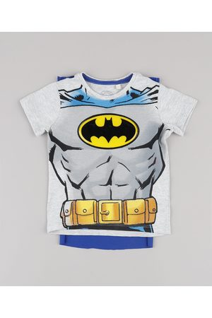 DC Menino Manga Curta - Camiseta Infantil Batman com Capa Removível Manga Curta Mescla Claro