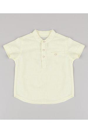 BABY CLUB Menino Camisa Manga Curta - Camisa Infantil com Bolso Manga Curta Gola Padre Amarela Claro