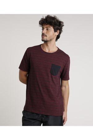 Basics Homem Manga Curta - Camiseta Masculina Básica Listrada com Bolso Manga Curta Gola Careca Vinho