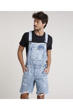 Clockhouse Homem Macacão Curto Jeans Masculino Destroyed Claro