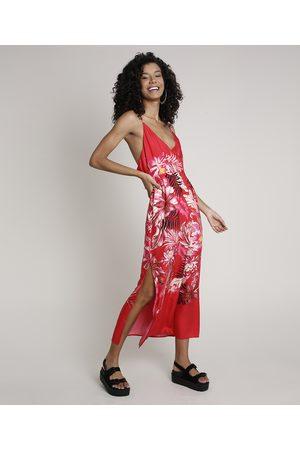 Clockhouse Vestido Feminino Midi Floral com Fenda e Transpasse Alça Fina Vermelho