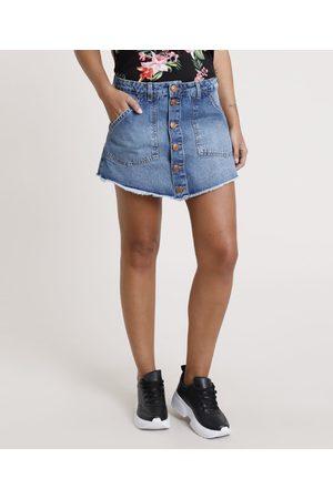 Clockhouse Short Saia Jeans Feminino com Botões e Barra Desfiada Médio