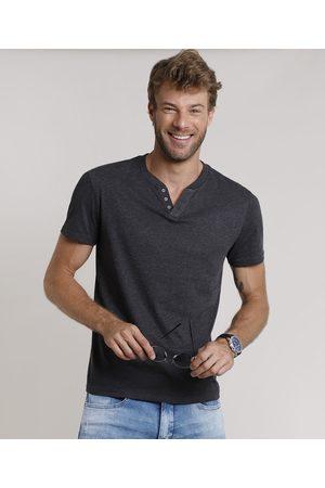 Basics Camiseta Masculina Básica Manga Curta Gola Portuguesa Mescla Escuro