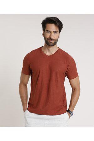 Basics Homem Manga Curta - Camiseta Masculina Básica Flamê Manga Curta Gola V Cobre