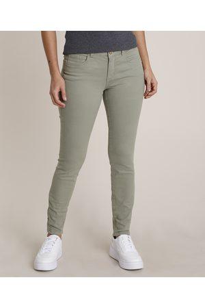 City Mulher Calça de Alfataria - Calça de Sarja Feminina Skinny Cintura Alta